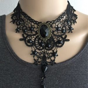 Dark Victorian Gothic Royalty Lace Choker Necklace